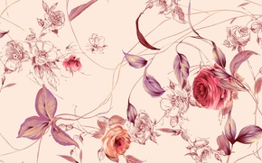 Картинка Фон, листья, цветы