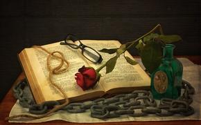 Картинка роза, очки, цепь, книга, натюрморт, бечевка