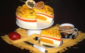 Картинка кофе, торт, натюрморт, слои, десерт, маракуйя