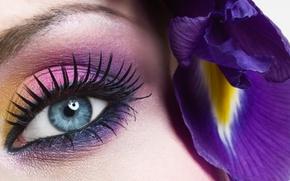Картинка цветок, глаза, синий