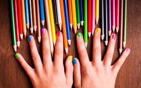 Картинка девушка, краски, радуга, colors, руки, карандаши, colorful, rainbow, girl, ногти, красочный, hands, nails, pencils, подросток, ...