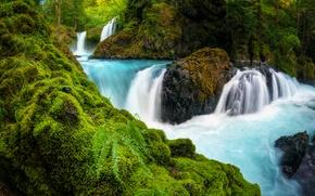 Картинка камни, водопад, Washington, Spirit Falls, мох, штат Вашингтон, папоротник, ущелье реки Колумбия, Columbia River Gorge, ...