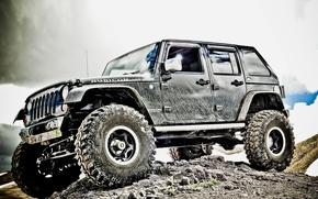 Обои джип, колёса, грязь, подвеска