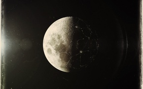 Обои луна, фото, блики, цивилизация