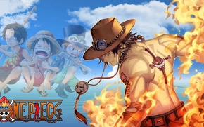 Картинка fire, skull, flame, logo, game, One Piece, sky, pirate, hat, anime, cloud, tatoo, captain, asian, …