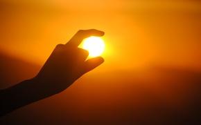 Картинка солнце, закат, рука, силуэт