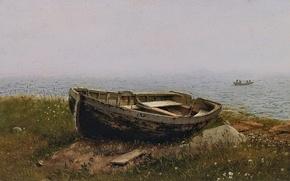 Картинка море, пейзаж, дети, камни, берег, лодка, картина, Frederic Edwin Church