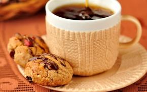 Картинка cup, чашка, dessert, десерт, печенье, кофе, cookie, chocolate, coffee, еда, шоколад