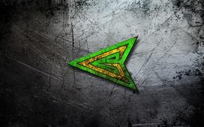 Обои металл, фон, текстура, царапины, центр, стальной, изумрудный, green arrow, зеленая стрела, боевой., наконечник