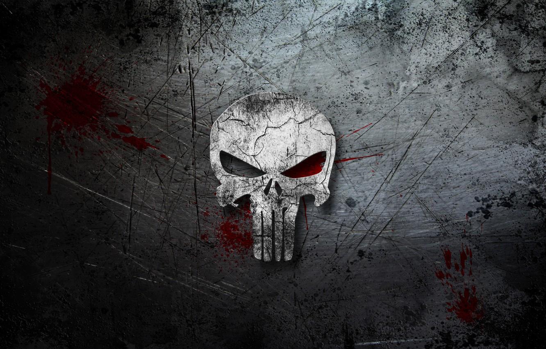 Фото обои фон, кровь, череп, царапины, The Punisher, Каратель