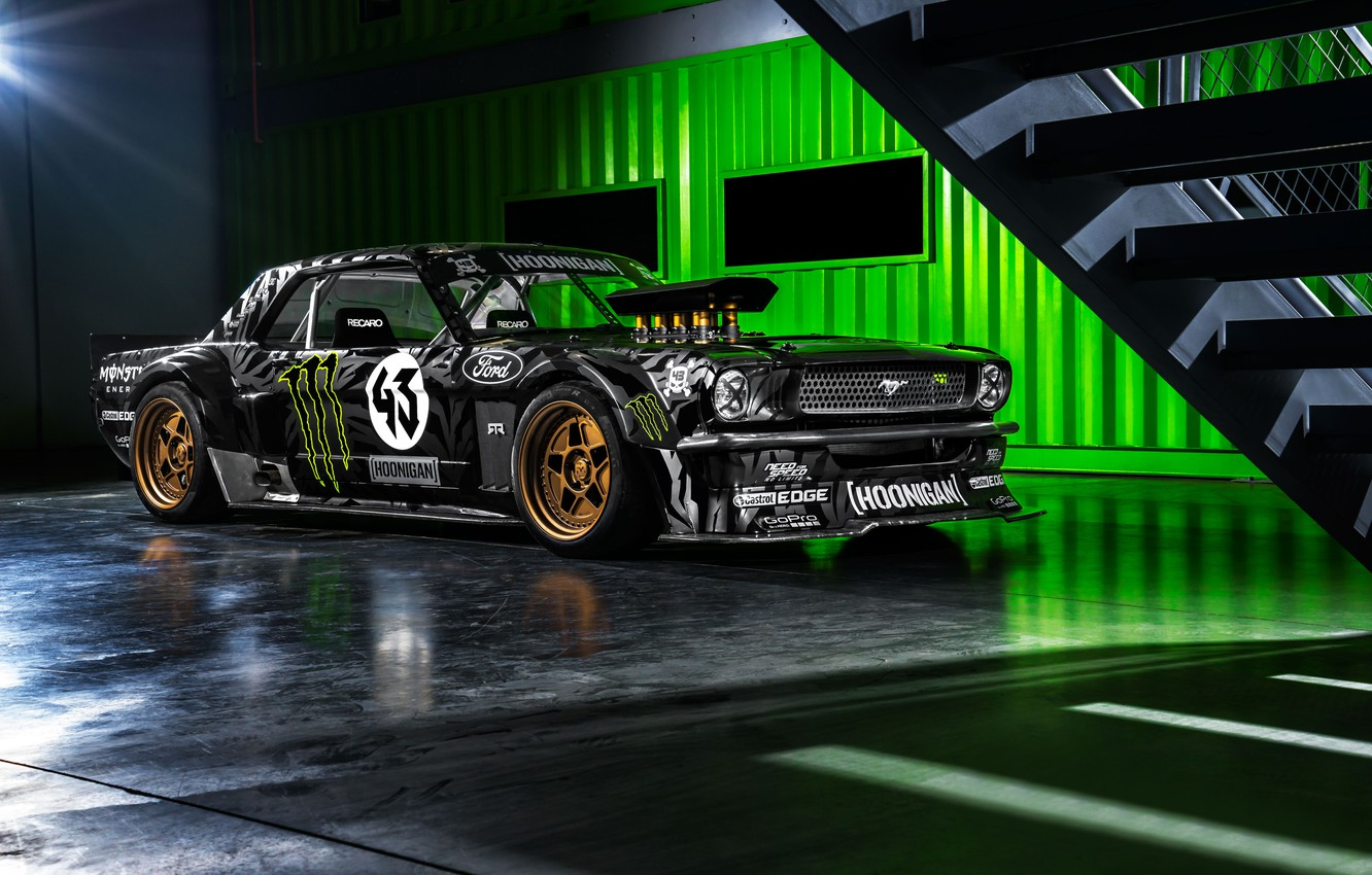 Фото обои Mustang, Ford, Monster, Front, 1965, RTR, Block, Ken, Gymkhana, Energy, Hoonicorn, SEVEN, 845 hp