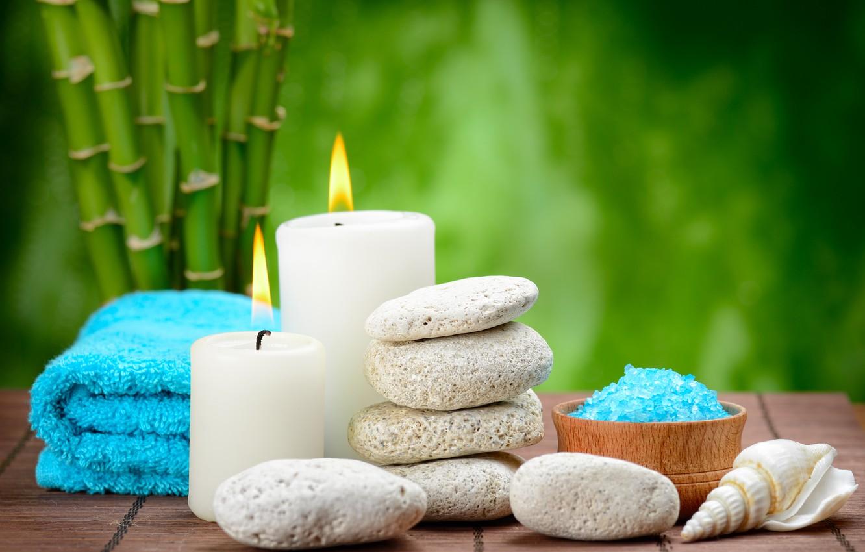 Фото обои камни, спа, stones, bamboo, candles, spa, salt, zen, соль для ванны