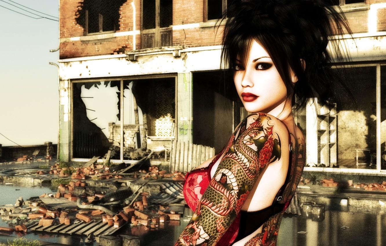 Фото обои девушка, дракон, макияж, тату, прическа, разрушенное здание