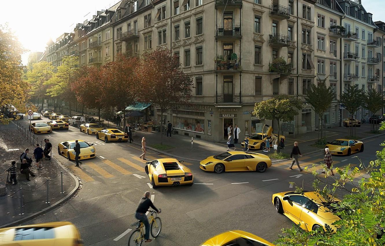 Фото обои Lamborghini, 149, желтые, Клоны