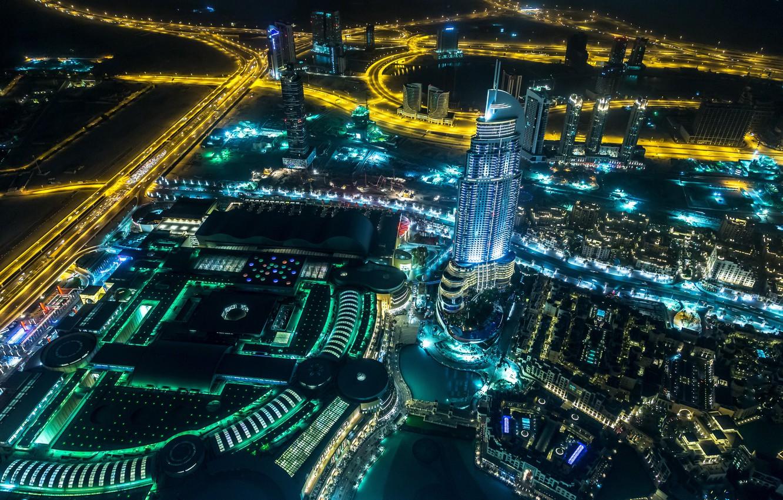 Обои сверху, дороги, Объединённые арабские эмираты, ночь. Города foto 6