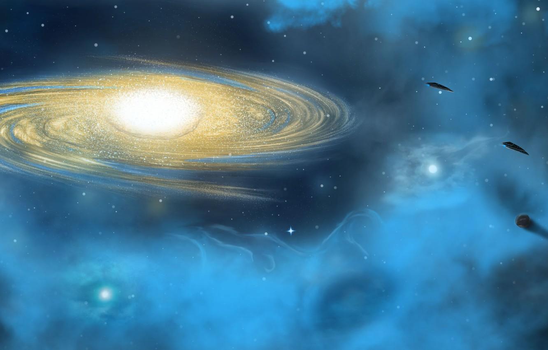 Фото обои звезды, свет, туманность, планеты, world, НЛО, Космос, галактика, space, light, star, космические корабли, UFO