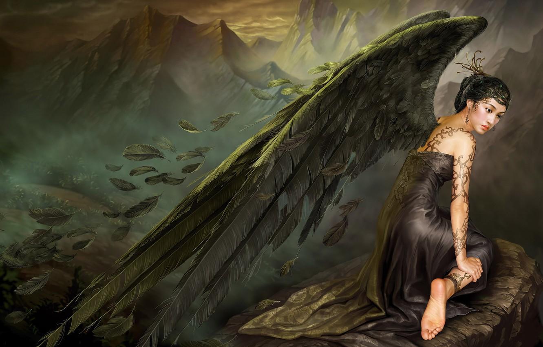 Фото обои грусть, горы, камень, крылья, ангел, перья, платье, Азия, татуировка