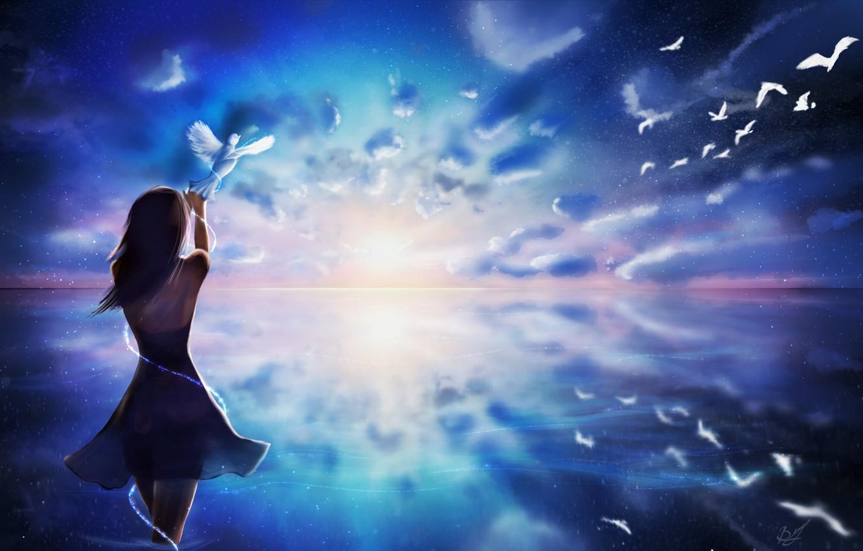 Фото обои небо, вода, девушка, облака, волосы, спина, руки, платье, арт, голуби