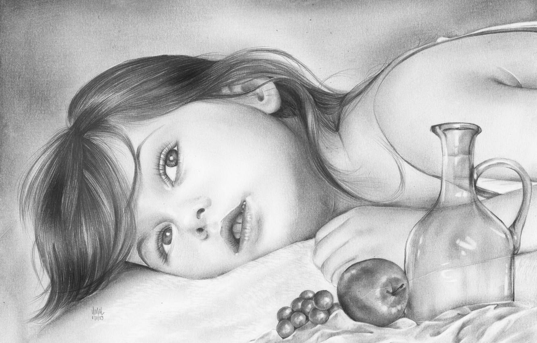 Фото обои взгляд, лицо, яблоко, ребенок, виноград, девочка, лежит, карандаш, живопись