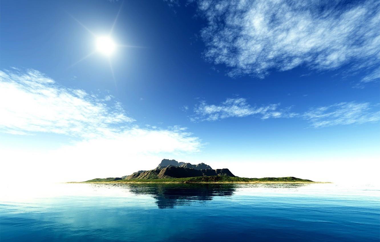 Фото обои море, небо, вода, солнце, сине-зеленая фигня, острова