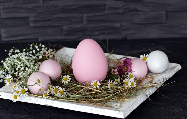 Фото обои цветы, стена, праздник, яйца, Пасха, сено, подставка, Easter