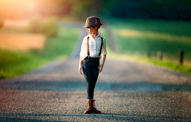 Фото обои дорога, девочка, боке, Tomboy, child photography