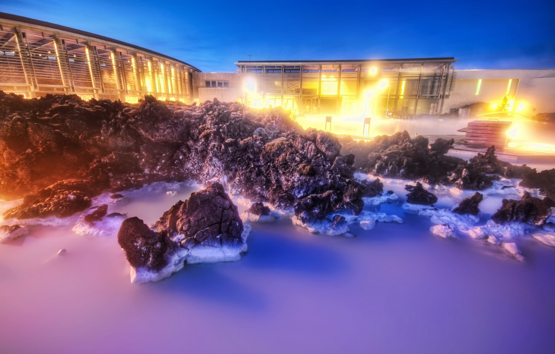 Фото обои вода, HDR, вечер, Камни
