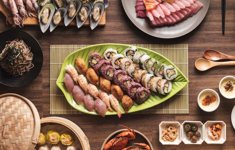 Фото обои рыба, суши, роллы, креветки, морепродукты, блюда, кальмары, ассорти