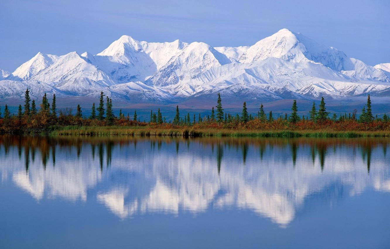 Фото обои деревья, горы, озеро, Аляска, чистый воздух