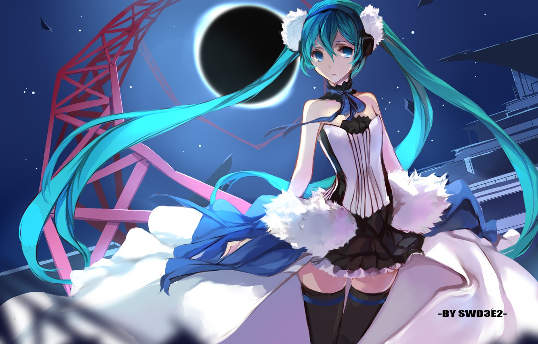 Фото обои небо, девушка, звезды, ночь, луна, наушники, слезы, арт, vocaloid, hatsune miku, 7th dragon, swd3e2