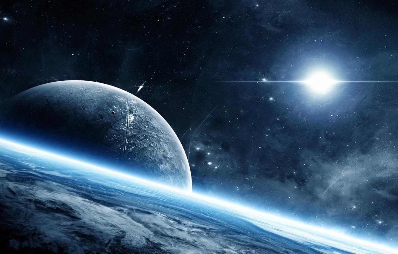 Фото обои космос, планета, свечение, атмосфера, space