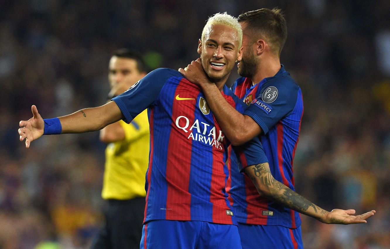 Фото обои улыбка, футбол, спорт, игра, звезда, Бразилия, футболист, team, игроки, football, Барселона, матч, Barcelona, Neymar, Неймар