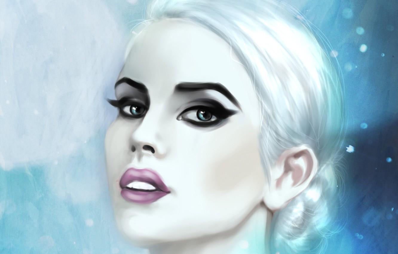 Фото обои холод, глаза, взгляд, девушка, снег, лицо, макияж, арт, губы, белые волосы