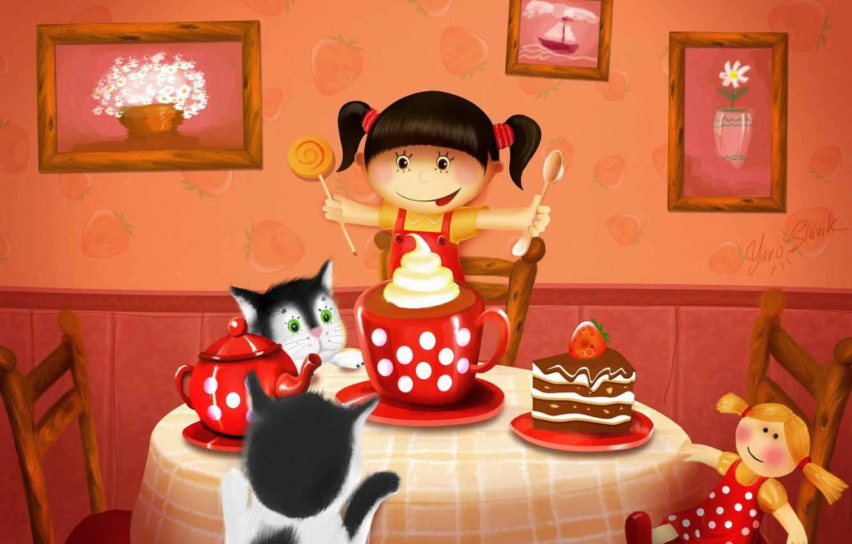 Фото обои кошки, стол, чай, рисунок, кукла, пирог, девочка, картины, сладости, торт