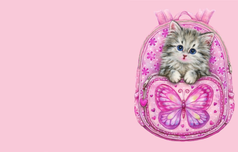 Фото обои арт, котёнок, рюкзак, детская