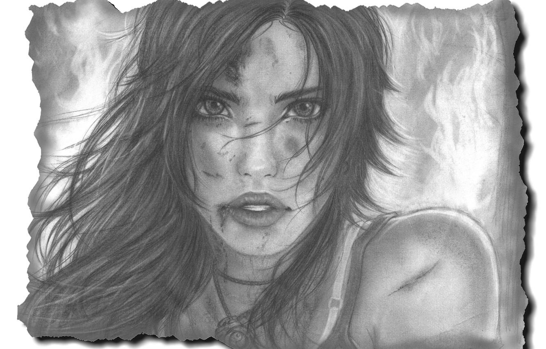 Фото обои взгляд, девушка, лицо, волосы, рисунок, арт, губы, Lara Croft, Tomb raider