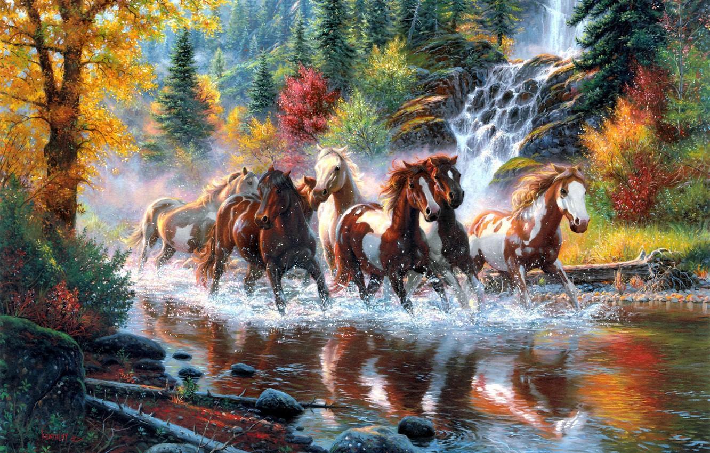 Фото обои осень, лес, деревья, река, водопад, кони, лошади, арт, табун, Mark Keathley