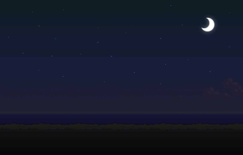 Фото обои море, трава, звезды, облака, ночь, время, луна, сутки, 8bit