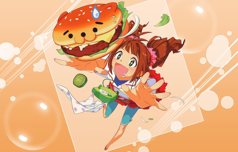 Фото обои аниме, девочка, школьница. завтрак, артр