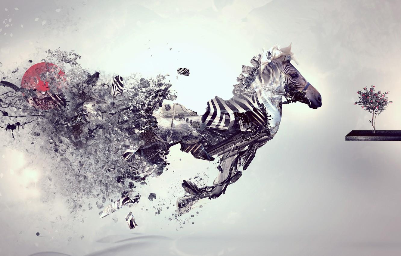 Фото обои Стиль, Серый, Обои, Зебра, Креатив, Style, Creative, Grey, Wallpaper