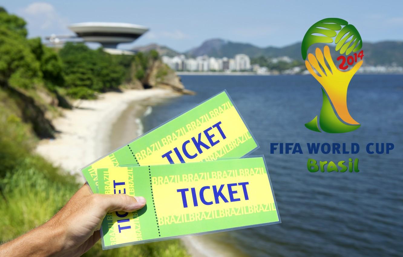 Фото обои logo, football, World Cup, Brasil, FIFA, 2014, tickets