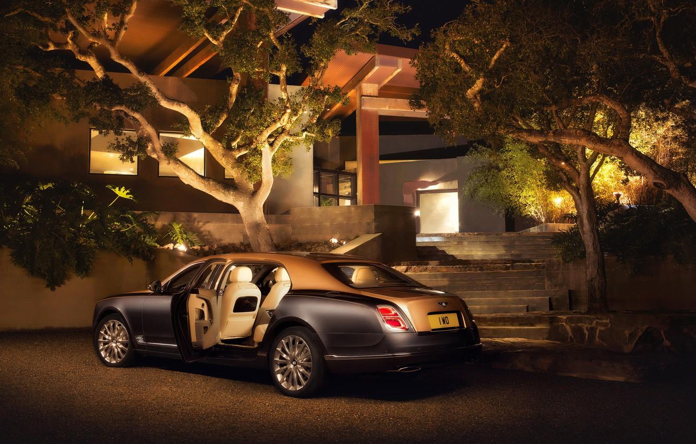 Фото обои Bentley, Ночь, Автомобиль, 2016, Mulsanne, EWB