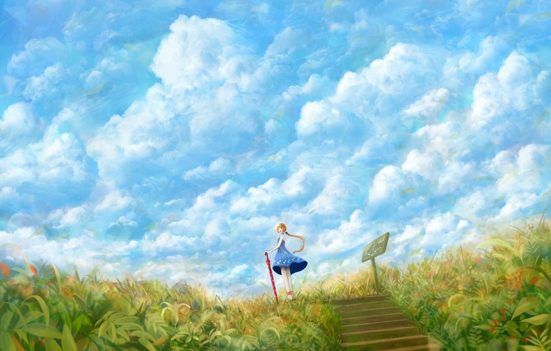Фото обои поле, небо, трава, девушка, облака, зонтик, ветер, табличка, зонт, платье, арт, ступеньки, bou nin
