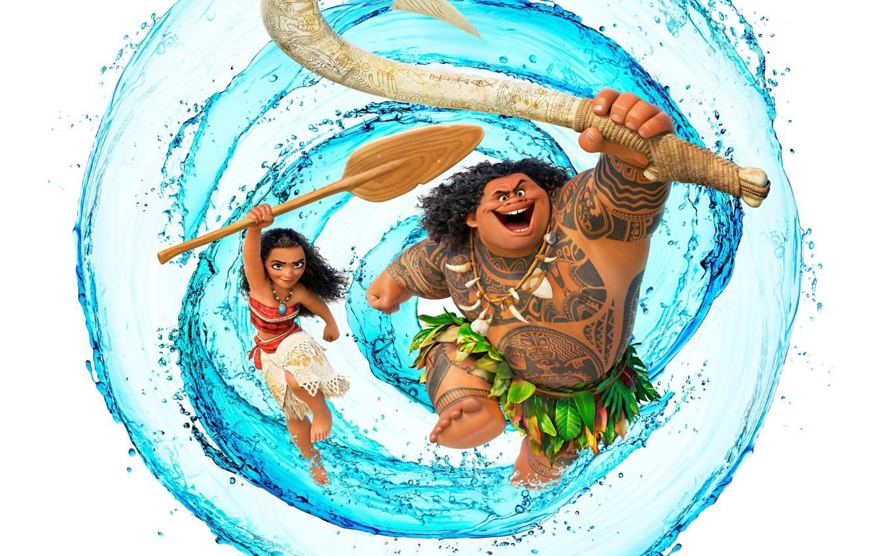 Фото обои вода, оружие, мультфильм, тату, девочка, белый фон, постер, Walt Disney, весло, Мауи, абориген, Maui, Moana, …