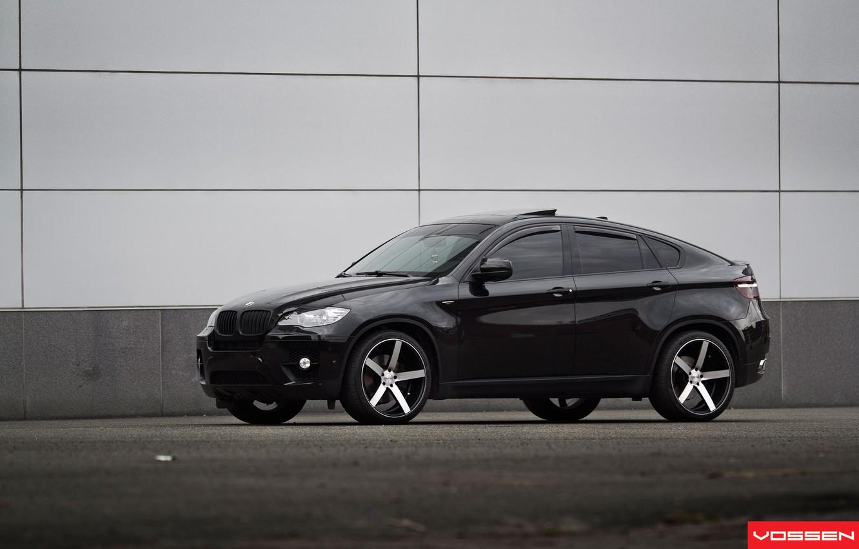 Фото обои черный, джип, диски, Tuning, BMW X6, Vossen, бмв икс шесть