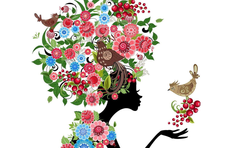 Обои Birds, abstraction, абстракция, цветы, girl. Абстракции foto 16
