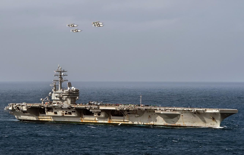 Фото обои оружие, армия, navy, USS Ronald Reagan (CVN 76), Four E-2C Hawkeyes