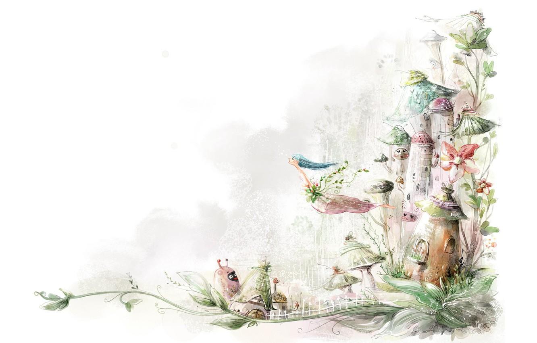 Фото обои белый, рисунок, растения