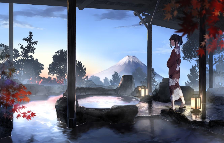 Фото обои небо, девушка, облака, деревья, закат, горы, природа, аниме, арт, фонари, кимоно