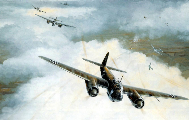Фото обои bomber, war, art, airplane, painting, aviation, ww2, Junkers Ju 88